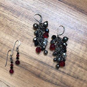 Ruby + Black Beaded Earring Set